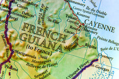 Geographic map of French Guiana country with important cities Royalty Free Stock Photography