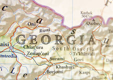 Geographic map of Georgia with important cities Royalty Free Stock Photo