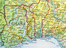 Geographic map of Ghana, Togo and Benin with important cities Royalty Free Stock Images