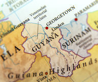 Geographic map of Guyana countries with important cities. Close Royalty Free Stock Photo