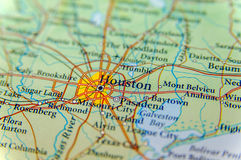 Geographic map of Houston close. Up stock images