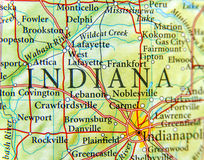 Geographic map of Indiana close. Up royalty free stock photos