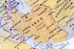 Geographic map of Iran with important cities Stock Image