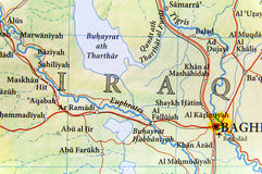 Geographic map of Iraq with important cities Stock Photos