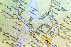 Geographic map of Iraq with important cities Royalty Free Stock Photos