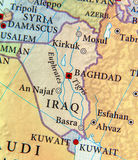 Geographic map of Iraq with important cities Stock Image