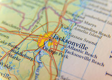 Geographic map of Jacksonwille close royalty free stock photo