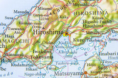 Geographic map of Japan with city Hiroshima. Close stock image