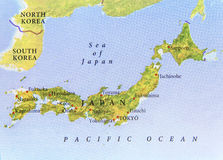 Geographic map of Japan with important cities. Close stock photography