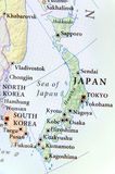 Geographic map of Japan with important cities. Close royalty free stock image