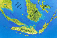 Geographic map of Java, Sumatra, Celebes and Borneo Islands Stock Photo