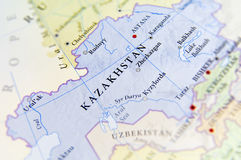 Geographic map of Kazakhstan with important cities Stock Photography
