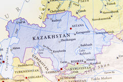 Geographic map of Kazakhstan with important cities Stock Photo