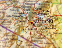 Geographic map of Kenya and focus on capital of Nairobi. Close Royalty Free Stock Photography