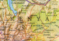 Geographic map of Kenya with important cities Stock Photography