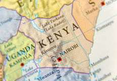 Geographic map of Kenya with important cities Royalty Free Stock Image