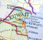 Geographic map of Kuwait with important cities Stock Photography