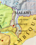 Geographic map of Malawi country with important cities Royalty Free Stock Image