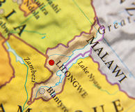 Geographic map of Malawi with important cities Royalty Free Stock Photo