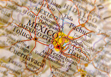 Geographic map of Mexico City close. Up stock photo