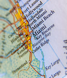 Geographic map of Miami close royalty free stock photography