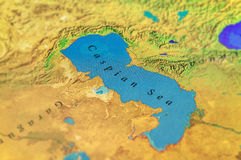 Geographic map of midle east Caspian Sea. Close royalty free stock photo
