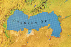 Geographic map of midle east Caspian Sea. Close stock photography