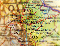 Geographic map of Monterrey city close. Up Royalty Free Stock Photos