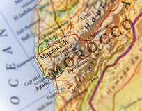 Geographic map of Morocco country with important cities. Close royalty free stock photo