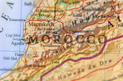 Geographic map of Morocco country with important cities. Close stock image
