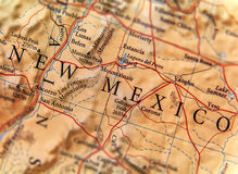 Geographic map of New Mexico state close. Up stock photography