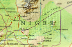 Geographic map of Niger with important cities Royalty Free Stock Photography