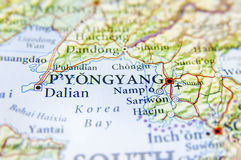Geographic map of North Korea capital city Pyongyang. Close royalty free stock photography