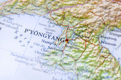 Geographic map of North Korea capital city Pyongyang. Close stock image