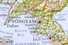 Geographic map of North Korea capital city Pyongyang stock photo