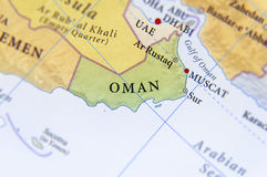 Geographic map of Oman with important cities Stock Image