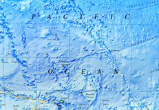 Geographic map of Pacific Ocean Stock Image