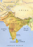 Geographic map of Pakistan, India, Nepal, Bangladesh and Bhutan with important cities Royalty Free Stock Photography