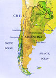 Geographic map part of South America country with important cities. Close Stock Photos