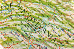 Geographic map of Pennsylvania close. Up stock images