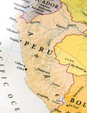 Geographic map of Peru with important cities. Close stock photos