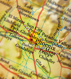 Geographic map of Phoenix city close. Up royalty free stock photography
