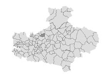 Geographic map of the province of Avellino. Scale of gray vector illustration