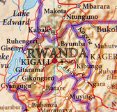 Geographic map of Rwanda with important cities Royalty Free Stock Photos