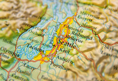 Geographic map of Seattle city close Royalty Free Stock Image