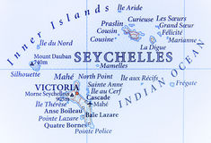 Geographic map of Seychelles with important cities Royalty Free Stock Photography