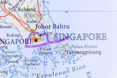 Geographic map of Singapore with important cities Royalty Free Stock Photo