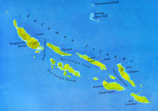 Geographic map of Solomon Islands with important cities Royalty Free Stock Image