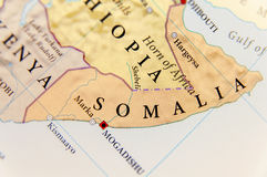 Geographic map of Somalia with important cities. Close stock images