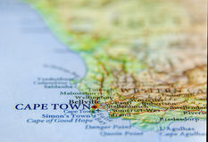 Geographic map of South Africa with capital city Cape Town Stock Photos